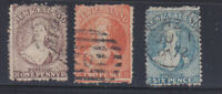 New Zealand, 1871 Perf 12.5, 1d, 2d, 6d used, Wmk Large Star, Lot 7137