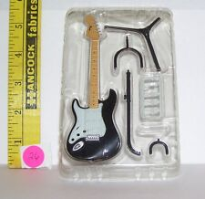 MINIATURE FASHION DOLL #26 BLK WHITE FENDER MUSTANG GUITAR W STAND NEW 5 INCHES