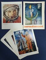 Set of 24 Posters Soviet Union Outer Space Gagarin Original USSR Russian Rare