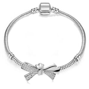 Silver plated MADE WITH SWAROVSKI CRYSTALS Tennis bracelet Love Knot Gift Xmas