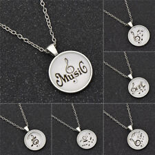 1pc Music Note Cabochon Necklace Glass Round Pendant Chain Men Women Jewellery