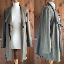J Jill Waterfall Lagenlook Cardigan Khaki Taupe Olive Collared Open Front M 12