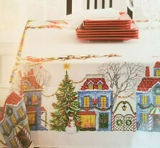 Printed Linen Tablecloth CHRISTMAS VILLAGE Oblong 52x70 Benson Mills