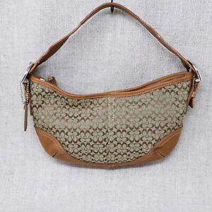 Coach Handbags Womens Small Signature Hobo Soho Canvas Leather Purse B6D-6351