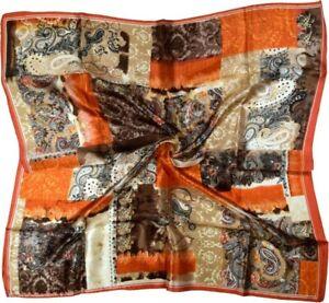 Orange Brown Paisley Fine Silk Square Scarf (A1)