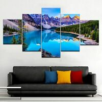 Awesome Mountain Lake Poster Nature Painting Wall Art Home Decor 5p Canvas Print