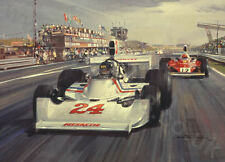Litho 1975 Dutch GP (Hesketh, Hunt) door Michael Turner
