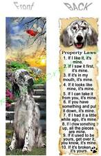 English Setter Bookmark Black Dog Rule Property Laws Book Mark Card Art Figurine