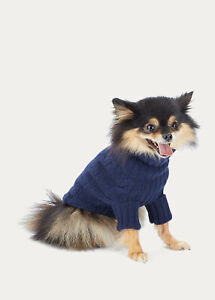 Polo Ralph Lauren Pet NAVY Cable Turtleneck Cashmere Blend Dog Sweater S