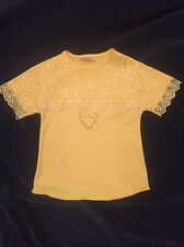 Yellow t-shirt with heart and floral lace kids- See Pictures For Measurements