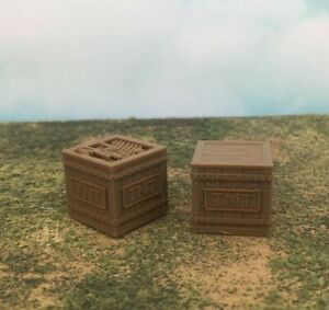NEW! 2pc Set of DYNAMITE CRATES Open & Closed Top - S Scale 1:64 - Freight Load