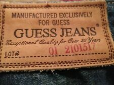 AUTHENTIC GUESS JEANS STRAIGHT LEG MEN JEANS SIZE 33 x 33 LEATHER TAG VIC-THOR1