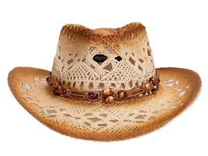 Western Cowboy Cowgirl Straw Hat Unisex Women Men Shapeable Summer Beach Sun Hat