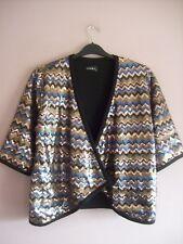 Club L Size Large 16 - 18 Black Blue Bronze Sequin Party Evening Cover Up Jacket