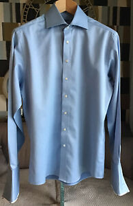 """Paul Costelloe Mens Smart Pale Blue Shirt Double Cuff With Logo Detail New 15"""""""