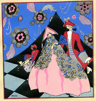 1930s French Pochoir Print Edouard Halouze Art Deco Princess Pink Dress Count
