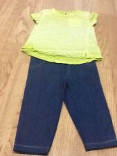Baby Girl Size 18-24 Months Lime Tie Dye T-shirt & Jeans - Brand New