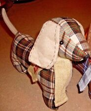 One Decorative Plaid Dachshund Doxie Dog - Light Brown Colors FREE SHIPPING!