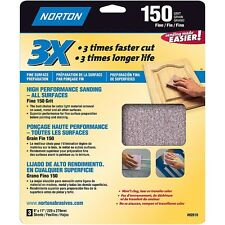 Norton 02618 3X Handy Aluminum-Oxide Sandpaper 150 Grit, 9-Inch x 11-Inch, 3-Pac