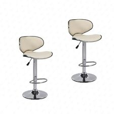 Adjustable Set of 2 Bar Stools PU Leather Hydraulic Swivel Dining Chair in Cream
