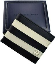 Tommy Hilfiger Classic Mens Leather Passcase Bifold Wallet Navy Bone
