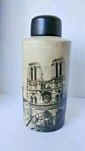 "Bella Lux ""Paris"" Scene Ceramic Jar Canister Decor 14"""