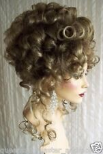 Drag Queen Wig Up Do Ash Blonde & Hi Lites French Twist Small Curls Tendrils