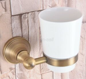 Antique Brass Bathroom Wall Mount Single Ceramic Cup Toothbrush Holder  aba164