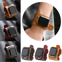 Genuine Leather Cuff Watch Band Strap For Apple iWatch Series SE 6 5 4 3 38-44MM