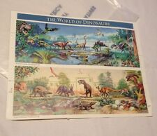 Vintage 1996 US Stamps Sheet 15 Stamps World Of Dinosaurs In Sleeve