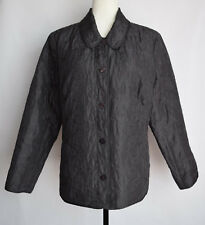 J. Jill Women's Jacket Gray Embroidered Button Front Silk Long Sleeve Size L