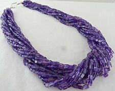 13 LINE NATURAL AMETHYST FANCY SQUARE BEADS NECKLACE WITH SILVER HOOK