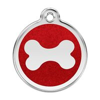 Red Dingo Dog ID Pet Tag FREE Personalized Engraved ~ GLITTER BONE