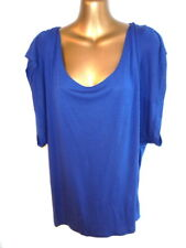 All Saints Spitalfields M Rosalie Top in Mid blue batwing cap sleeve BOHO (B474