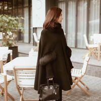 Chic Women Cape cloak Warm Winter Coat Jacket Outdoor Loose Fur Collar Retro New