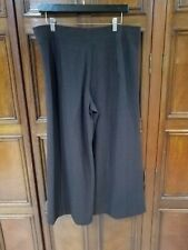 New L  EILEEN FISHER STRAIGHT  Pants Knitted Wool choco wide leg nwt large