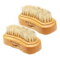2x Brosse à ongles en bois à deux faces Gommage Ongle Ongle Ongle Nettoyage