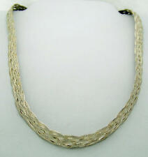 """LOVELY ESTATE SIX-STRAND WOVEN STERLING SILVER NECKLACE from ITALY, 18"""""""