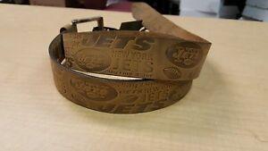 New York Jets Crazy Horse Embossed Slogan Mens Leather Belt Brown Tan size 28-40