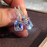 Fashion Cushion Cut Cubic Zircon Dangle Earrings Crystal CZ Drop Women Jewelry