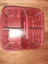 Longaberger basket Handy Helper Bold Red 4 Divided Sections excellent condition