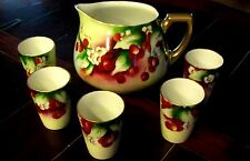 ANTIQUE WG & CO GUERIN HAND PAINTED LIMOGES Pitcher & Cups Cherry Blossoms Suggs