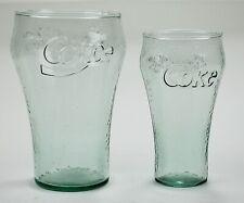 "2 Vintage COCA-COLA 'Restaurant"" Style Drinking Glasses 26oz/12oz Green"