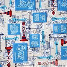 BonEful Fabric FQ Cotton Quilt White Red Blue Large Dump Truck Construction Boy