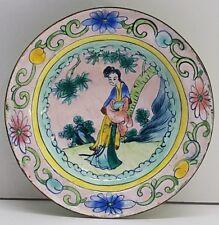 Vintage Handpainted Enamel Metal Saucer Bowl Dish China Estate Old Asian Antique
