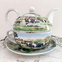 Vintage Farmhouse Tea For One Set Teapot Tea Cup Fine China Cows Gift  Kitchen
