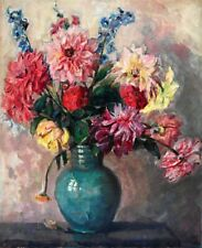 Ölgemälde Ölbild alt antik Impressionismus Romantik Stillleben Blumen Rosen 1890