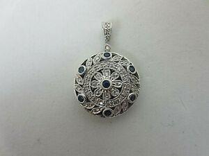 14k White Gold Blue Sapphire and Diamond Locket Pendant 0.40 ct TW