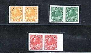 Canada 136-138 VF NH imperf pairs, CV $397.50