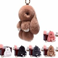 Adorable Fur Bunny Fluffy Rabbit Plush Toy Keyring Bag Charm Pendant Keychain HU